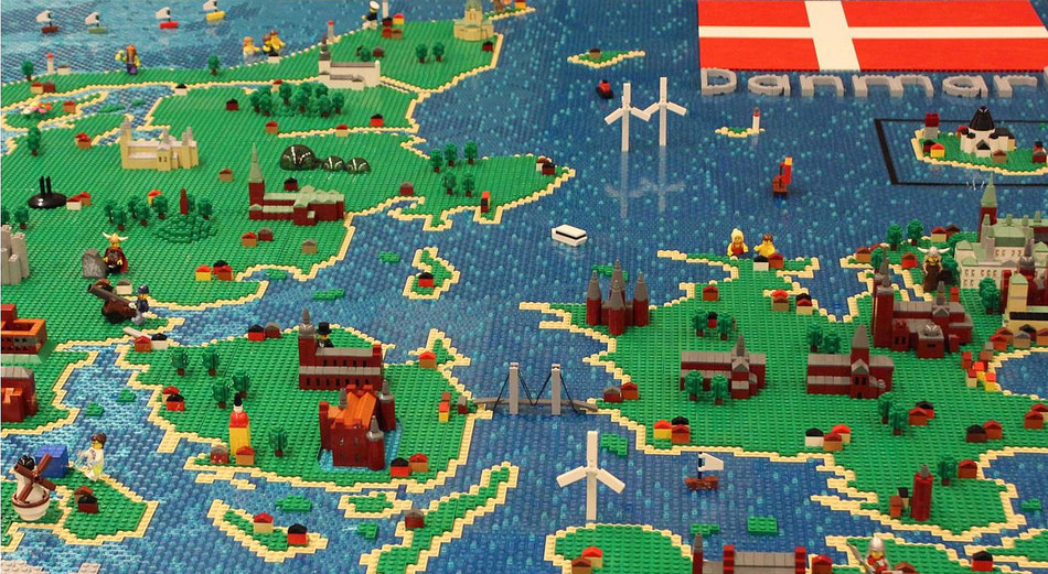 LEGO 3D kaart Denemarken uitgelicht