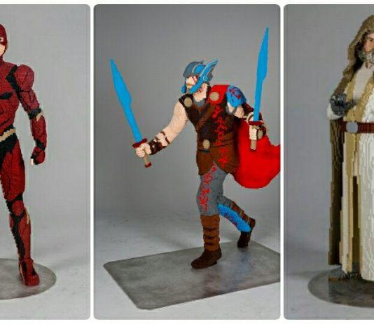 Levensgrote LEGO beelden Luke, The Flash en Thor