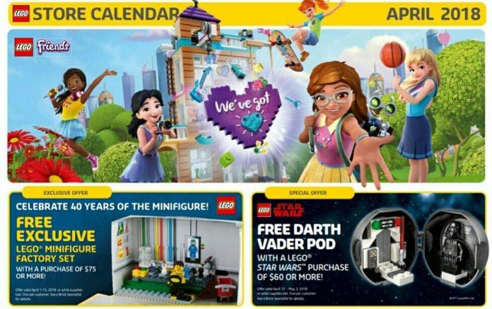Amerikaanse LEGO Store calendar april 2018