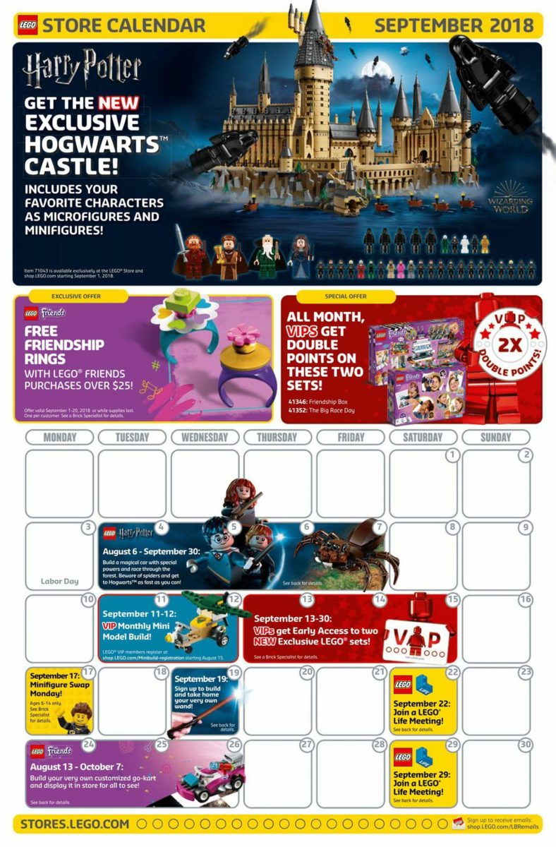Amerikaanse LEGO Store kalender september 2018