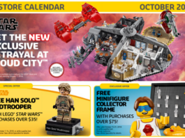 Amerikaanse LEGO Store kalender oktober 2018