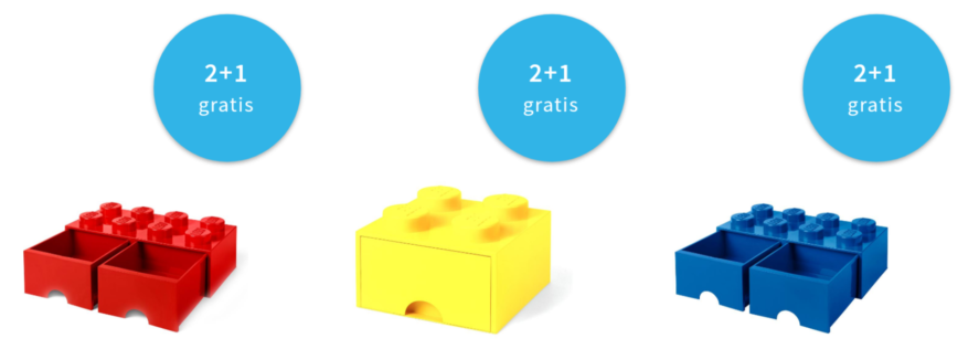 2+1 gratis op LEGO opbergboxen
