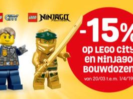 15% korting op LEGO City en LEGO Ninjago