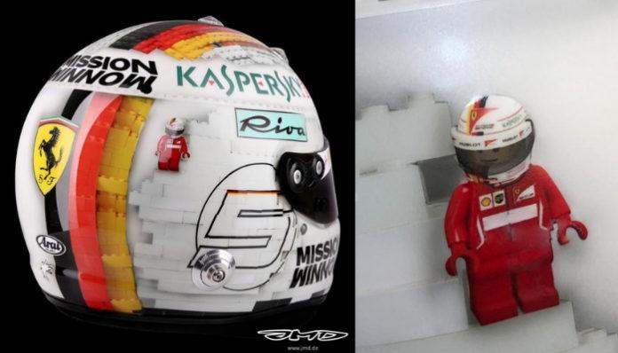 Sebastian Vettel onthult helm met LEGO design
