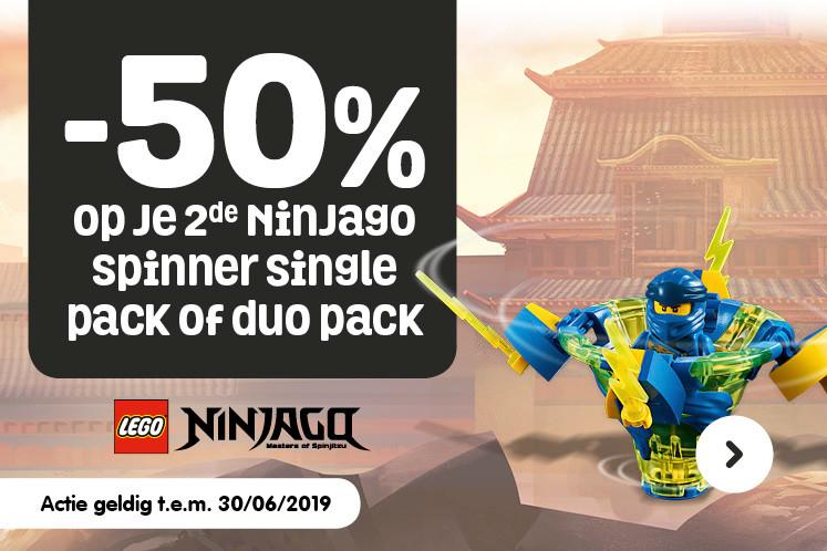 50% korting op Ninjago spinners fun