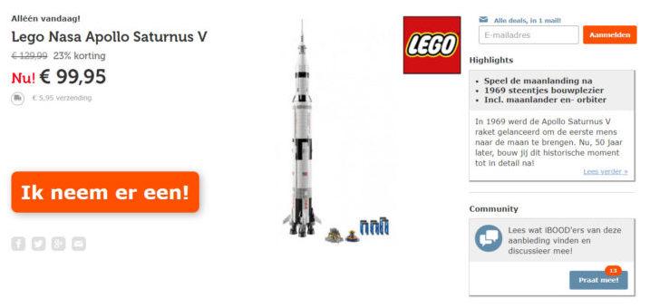 LEGO NASA Apollo Saturn V voor €99,95