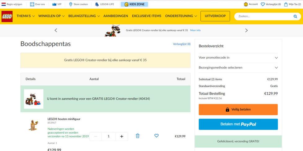 LEGO Shop nu met PayPal optie