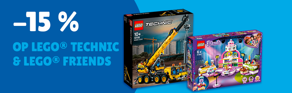 15% korting LEGO Technic en Friends